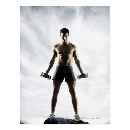 Man lifting weights 3 postcard