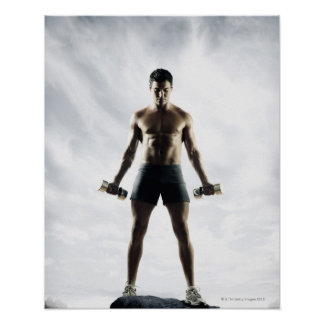 Man lifting weights 3 poster