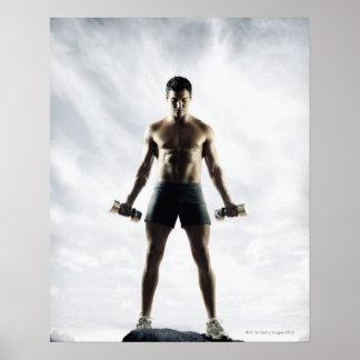 Man lifting weights 3 poster