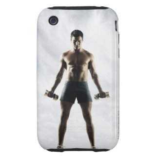 Man lifting weights 3 tough iPhone 3 cover