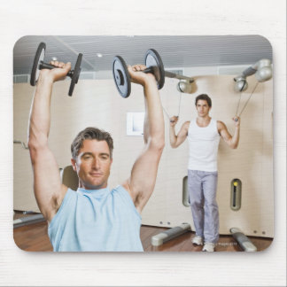 Man lifting weights at gym mouse pad