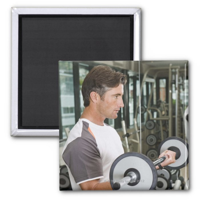 Man lifting weights in gym 2 2 inch square magnet