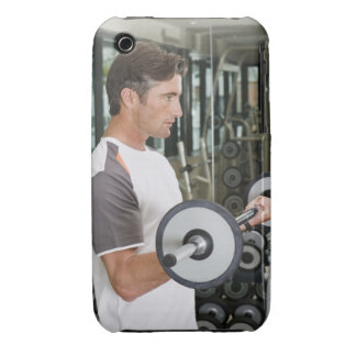 Man lifting weights in gym 2 iPhone 3 Case-Mate cases