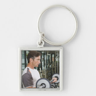 Man lifting weights in gym 2 keychain