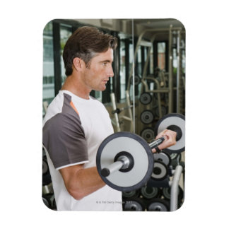 Man lifting weights in gym 2 rectangular photo magnet