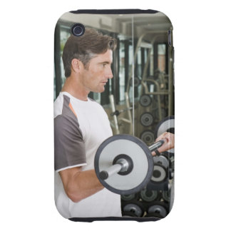 Man lifting weights in gym 2 tough iPhone 3 cover