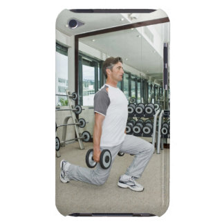 Man lifting weights in gym barely there iPod cover