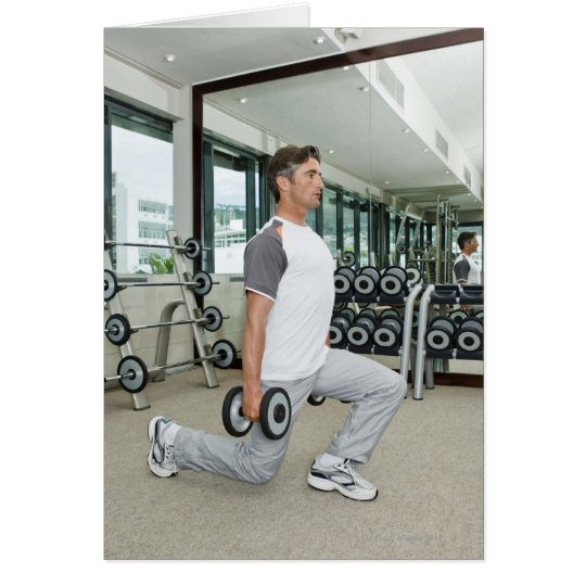 Man lifting weights in gym card