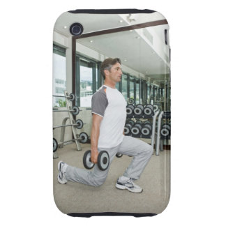 Man lifting weights in gym tough iPhone 3 case