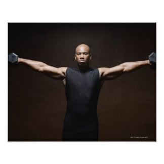 Man lifting weights, portrait poster