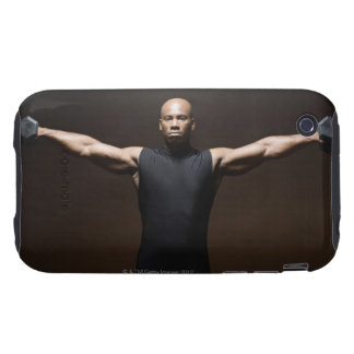 Man lifting weights, portrait tough iPhone 3 case