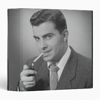 Man Lighting Cigarette 3 Ring Binder
