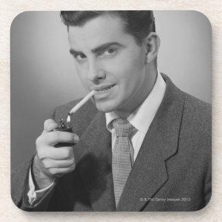 Man Lighting Cigarette Beverage Coaster