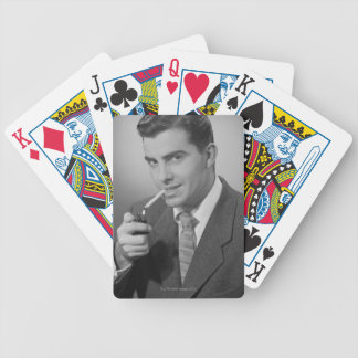 Man Lighting Cigarette Bicycle Playing Cards