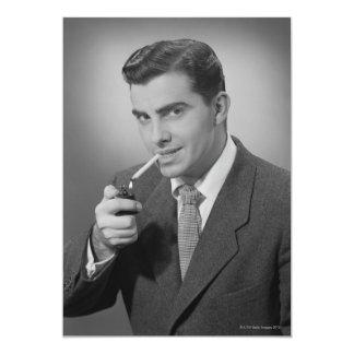Man Lighting Cigarette Card