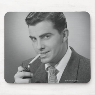 Man Lighting Cigarette Mouse Pad