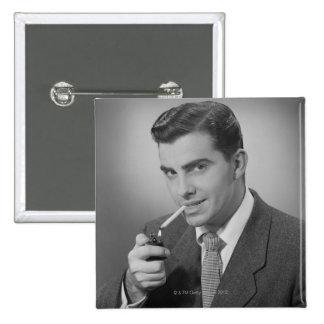Man Lighting Cigarette Pinback Button