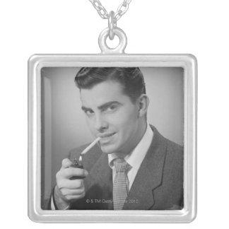 Man Lighting Cigarette Square Pendant Necklace