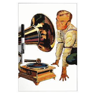 Man listening to a gramophone dry erase whiteboard