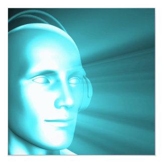 Man Listening to Music Meditating in Earphones 3d 5.25x5.25 Square Paper Invitation Card