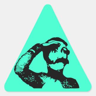 Man looking triangle sticker