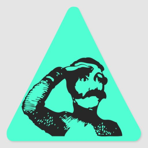 Man looking triangle stickers