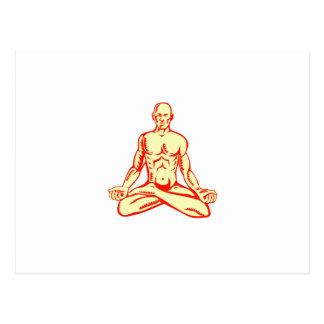 Man Lotus Position Asana Woodcut Postcard