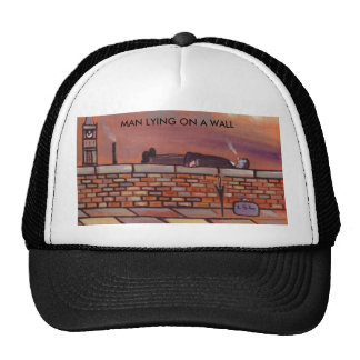 MAN ,LYING ,ON, A, WALL ,HAT, TRUCKER HAT