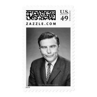 Man Making Face Postage Stamps