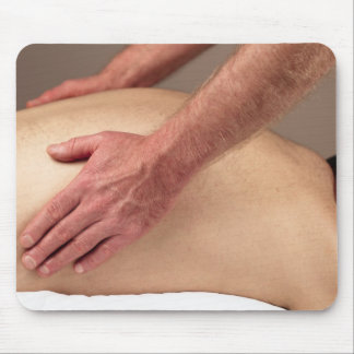 Man Massaging Back Sides of a Massage Client Mouse Pad