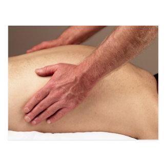 Man Massaging Back Sides of a Massage Client Postcard