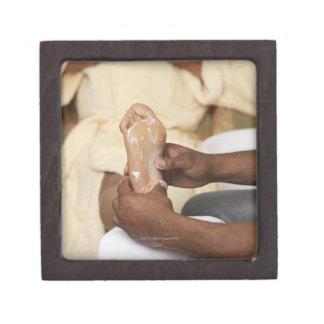 Man Massaging Woman's Foot Premium Trinket Boxes