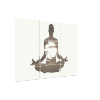 Man meditating yoga in the evening sun 01 canvas print