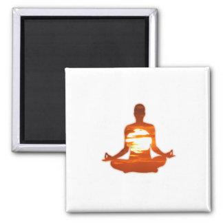Man meditating yoga in the evening sun 01 fridge magnet