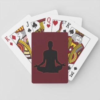 Man meditating yoga in the evening sun 01 playing cards