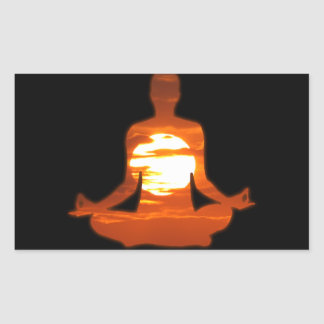 Man meditating yoga in the evening sun 01 rectangle sticker