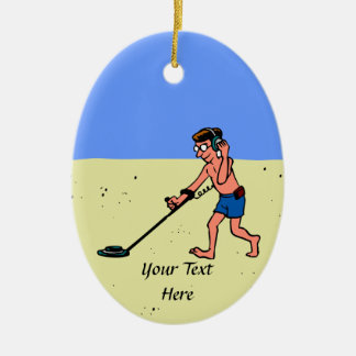 Man Metal Detecting Beach Ceramic Ornament