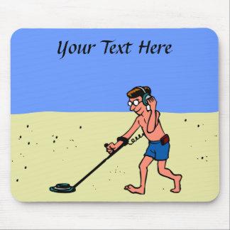 Man Metal Detecting Beach Mouse Pad