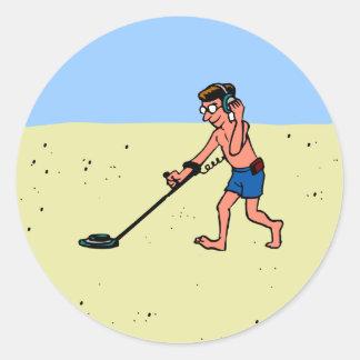 Man Metal Detecting On Beach Classic Round Sticker