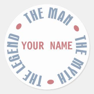 Man Myth Legend, Customizable Classic Round Sticker