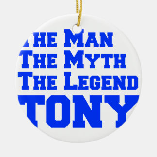 man-myth-legend-tony-fresh-blue.png Double-Sided ceramic round christmas ornament