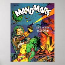 MAN O' MARS Cool Vintage Comic Book Cover Art Poster