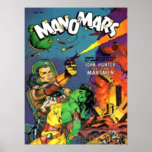 Vintage Comic Book Cover Art ~ Man o mars cool vintage comic book cover art poster zazzle