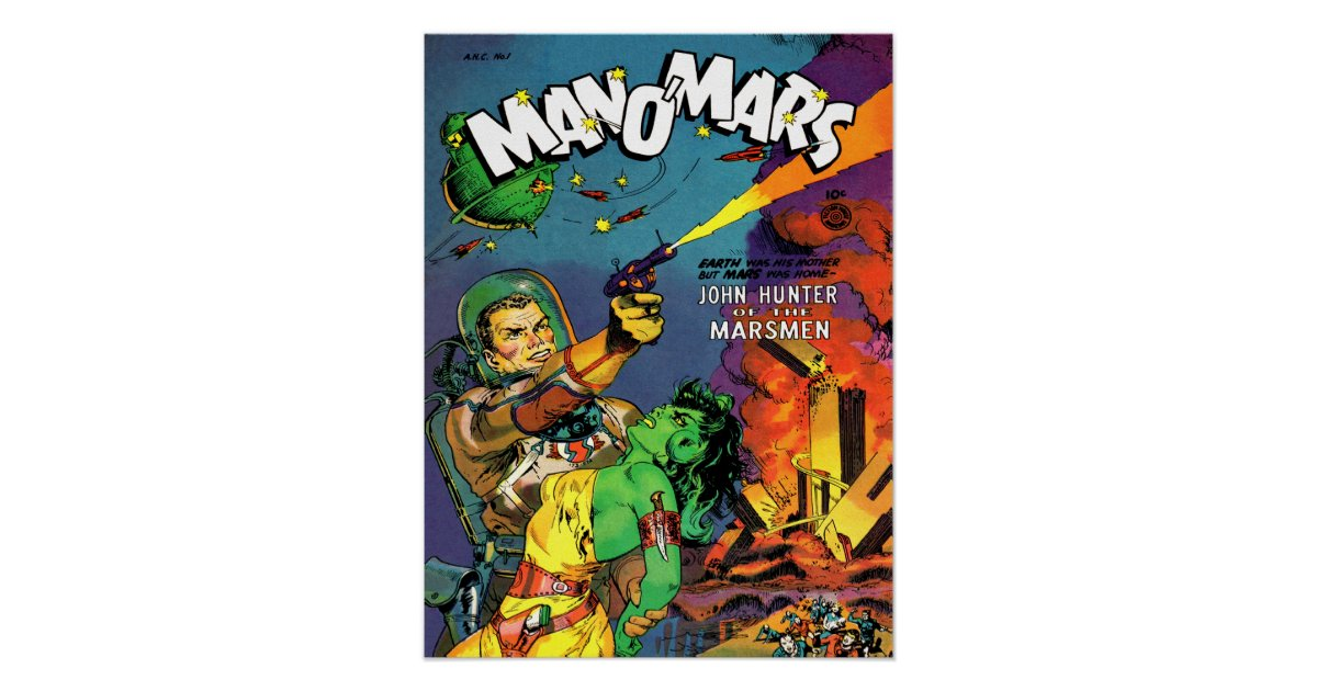 Cool Book Cover Posters ~ Man o mars cool vintage comic book cover art poster zazzle