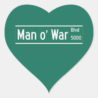 Man O' War Boulevard, Street Sign, Kentucky, US Heart Sticker