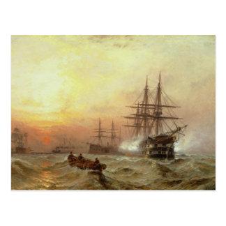 Man-o'-War firing a salute at sunset Postcard