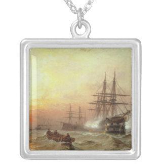 Man-o'-War firing a salute at sunset Silver Plated Necklace