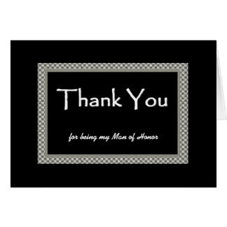 MAN OF HONOR Checkerboard Wedding THANK YOU Card