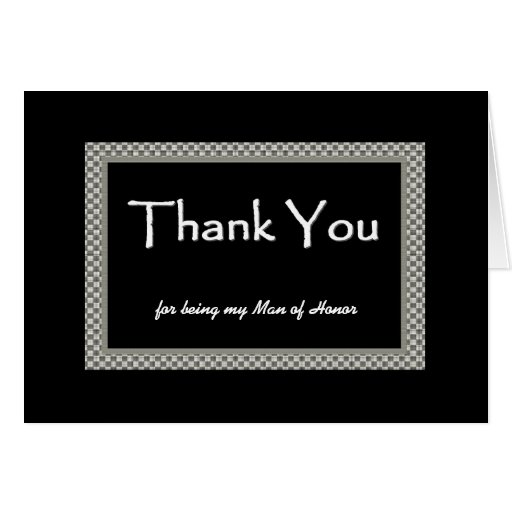 MAN OF HONOR Checkerboard Wedding THANK YOU Cards