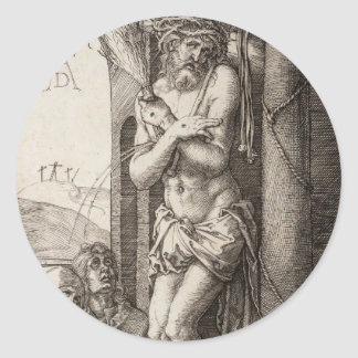 Man of Sorrows by Column by Durer Classic Round Sticker